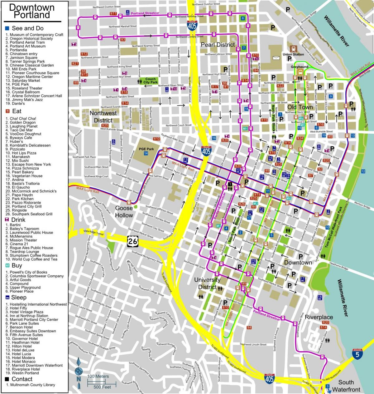 tourist map Portland Oregon